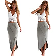 Slim Dress,Neartime Womens Long Bandage Two Piece Crop Tops and Skirt