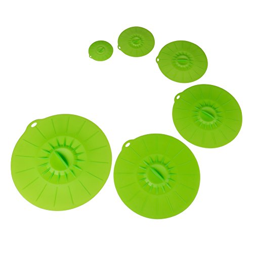 MOWO Silicone Suction Lids and Food Covers 100% Food Grade Silicone Skillet or Pan Lids, Microwave Covers, Bowl Covers, FDA Approved, Set of 6, Green