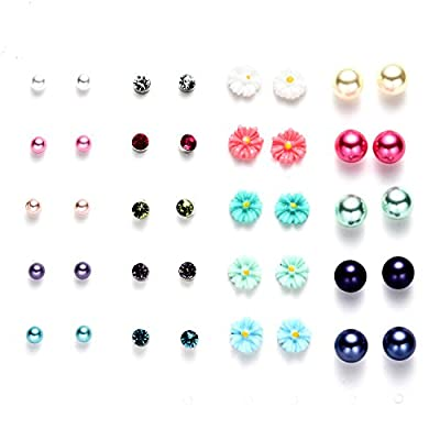 Oaonnea Women's Girl's Assorted Multiple Ball Stud Earrings Set for Summer Vacation