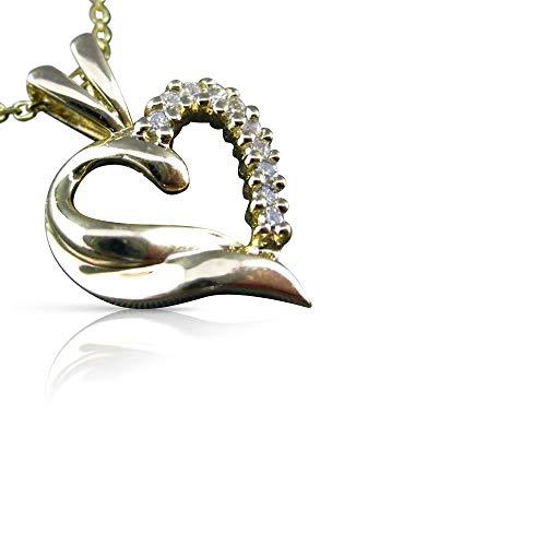 Milano Jewelers .15CT Diamond 14K Yellow Gold Floating Open Heart Pendant & Chain #23634