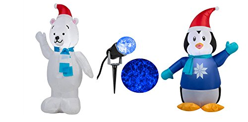 Inflatable Polar Bear 3.5' Wearing scarf and Santa Hat, Inflatable Penguin Wearing Sweater 3.5' & Icy Blue Projection Light Bundle (Penguin Rudolph)