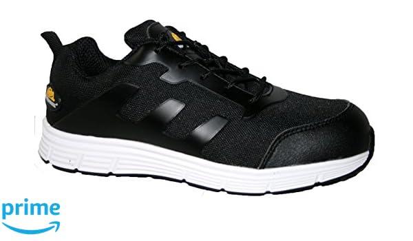 Ladies Bases Puntera de ACERO Seguridad Trabajo Entrenador Zapatos de Encaje Ultra Ligera, Color Blanco, Talla 39.5