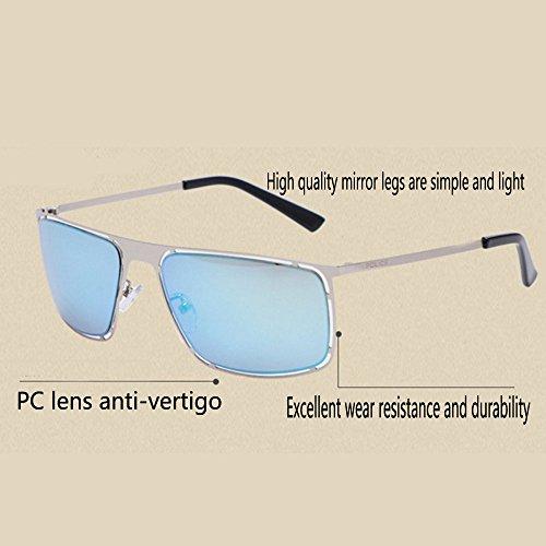 mode soleil la Blue Navy carrées lunettes Uv400 soleil de métalliques lunettes Lunettes protection de hommes femmes décoratifs de et vvwBqp0