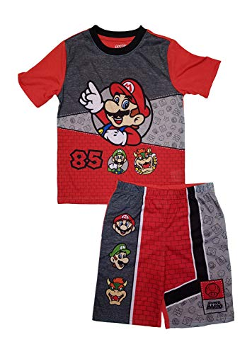 (AME Super Mario Boys Summer Pajamas with Luigi Bowser (Large 10/12) Red)