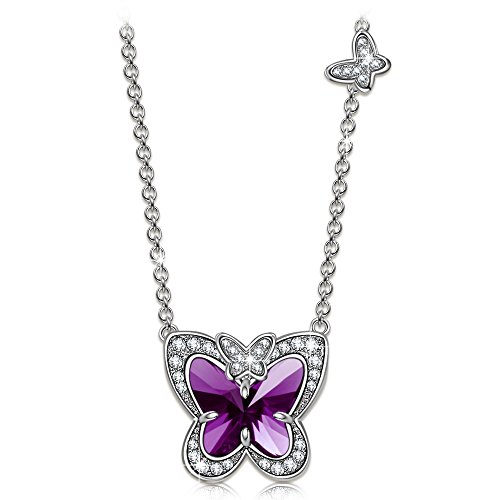 LADY COLOUR Butterfly Fairy Demi Pendant Necklace for Women with Crystals from Swarovski Romantic Gift for Her Hypoallergenic Jewelry Gift Box Packing, Nickel Free Passed SGS Test
