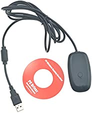 Alician for Xbox 360 Wireless Gamepad PC Adapter USB Receiver Supports Win7/8/10 System Black