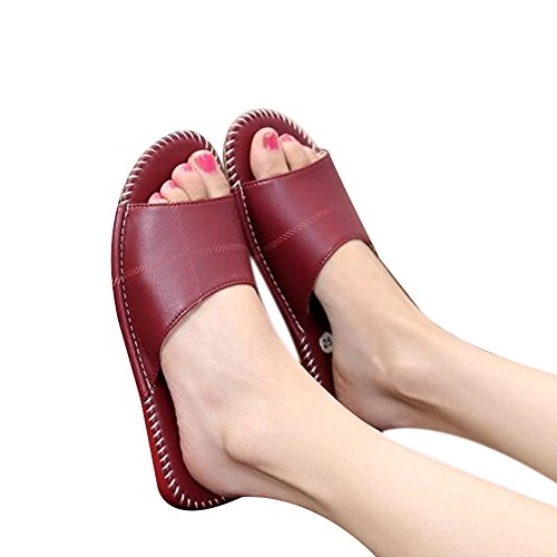 Rouge Summer Autumn W PU Wooden Women Mute Spring Men Vin Floor for and TELLW Leather Slippers ZqwWdRRB