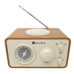 SINGING WOOD Retro Wood AM FM Radio with Bluetooth and Aux Line in Jack (Beech Wood Color)