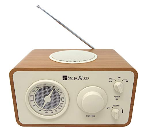 SINGING WOOD Retro Wood AM FM Radio with Bluetooth and Aux-in Jack (Beech Wood Color) ()