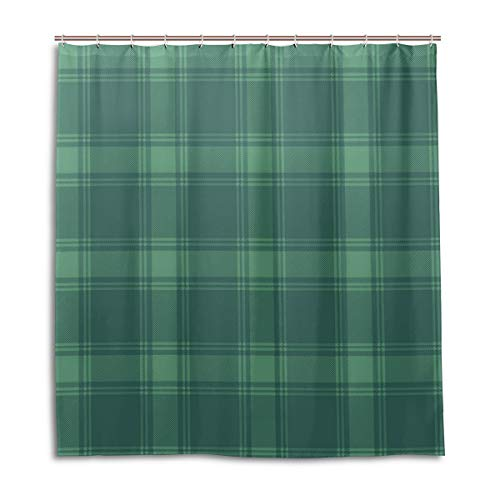 Amanda Billy Literary Fresh Green Square Natural Home Shower Curtain, Beaded Ring, Shower Curtain 72 x 72 Inches, Modern Decorative Waterproof Bathroom Curtains