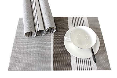(Lavin Placemats Vinyl Woven Placemat Table Mat Set of 4 Dining Kitchen Table Mat Heat-Resistant Non-Slip Stain Resistant Washable PVC 4pcs Placemats(Grey))