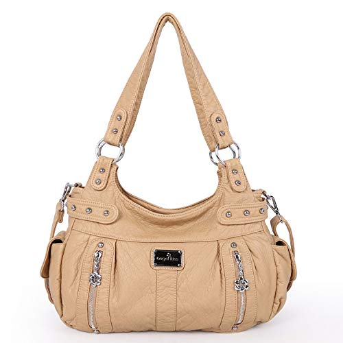Angelkiss Design Handbags Womens Purse Feel Soft Lether Multiple Top Zipper Pockets Shoulder Bags Large - Tan Handbag Purse