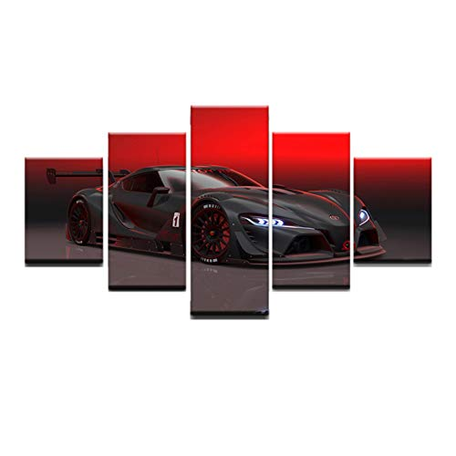 Wall Art Canvas Painting Toyota FT-1 VISION GT Sports Car Picture, 5 Panel Giclee Artwork Wall Art HD Prints Decor for Home and Office Decoration (With frame,8X12inch-2P 8X16inch-2P 8X20inch-1P)