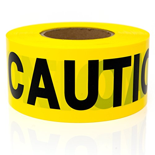 Premium Yellow Caution Tape - STRONGEST & THICKEST - 3 x 1000 Feet Mega Roll - Tear & Weather Resistant Barricade Roll