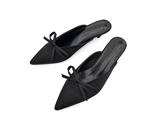 Handcrafted Mule Suede Adorned Women's Cloudless Black Comfort Heel Kitten Bow wpY1qTxa