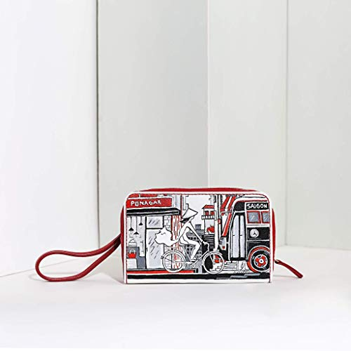 Ponagar Handmade Leather MIU wristlet handbags with lady painting, Italian Leather, Unique design, Fully -