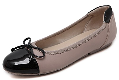 Women's Round Toe Flat Loafers Sweet Casual Shoes with Bow Beige - 6