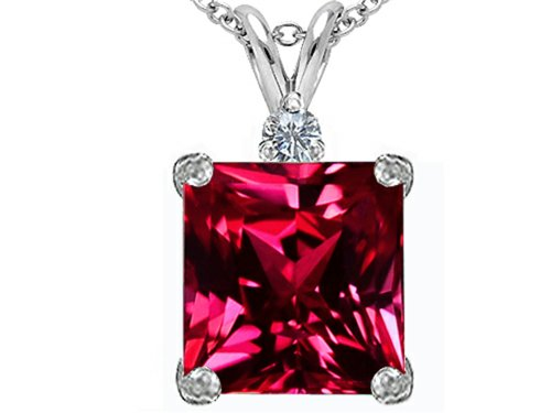 Star K Large 12mm Square Cut Created Ruby Pendant Necklace Sterling Silver