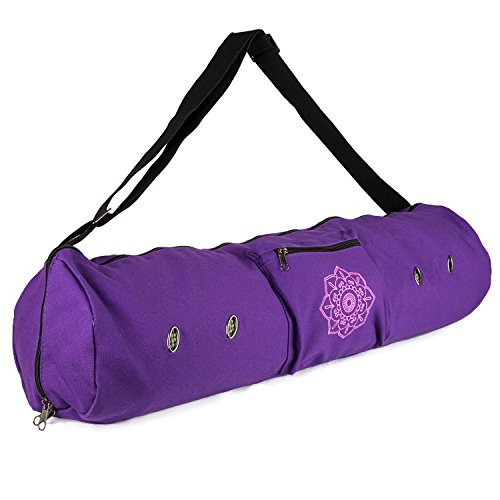 Embroidered Mat Standard - Peace Yoga Air Vent Yoga Mat Bag Purple Flower