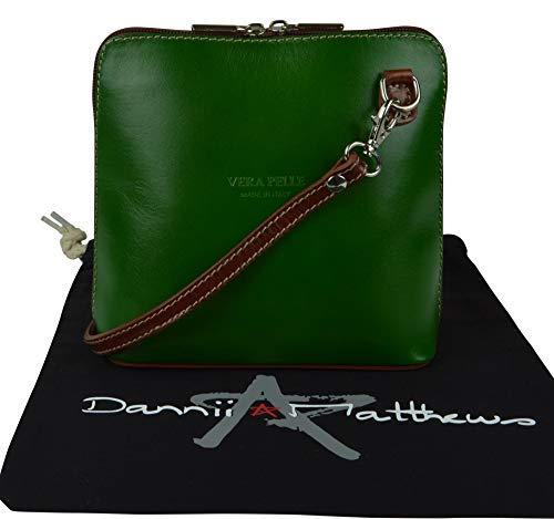 Branded Made Bag Leather Brown Hand Italian Body Handbag Cross Shoulder Includes Protective Green Storage Small a 1EvwqxqcOS