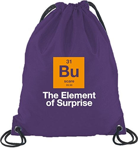 Shirtstreet24, Halloween - The Element Of Surprise, Nerd Turnbeutel Rucksack Sport Beutel Lila