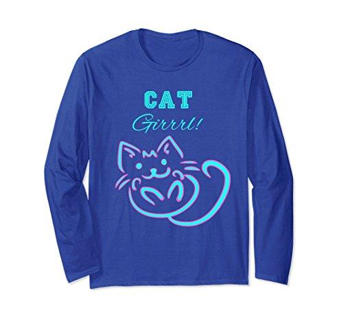 - Unisex Cute Kitten Cat Themed Long Sleeved Shirt Large Royal Blue