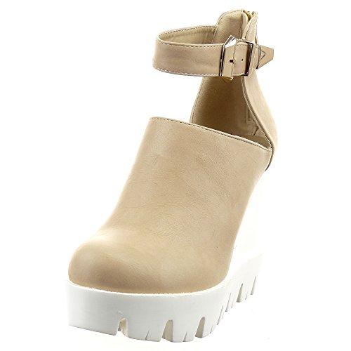 Sopily - Zapatillas de Moda Botines Abierto Zapatillas de plataforma Tobillo mujer Hebilla Talón Plataforma 11.5 CM - Beige