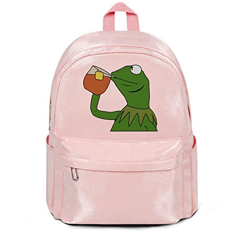 LKM-Ykan Womens Girl Boys College Bookbag Fashion Nylon Lightweight Travel Daypack Backpack Funny-Frog-Sipping-Tea- Bag Pink