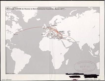 Amazon.com: 1977 Map Romania--TAROM air routes to non-communist ...