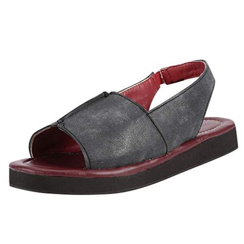 〓COOlCCI〓 Womens Leather Peep Toe Casual Slingback Sandals Platform Sandals Espadrille Wedge Ankle Strap Flat Sandal Gray (Roxy Skate Shoes)