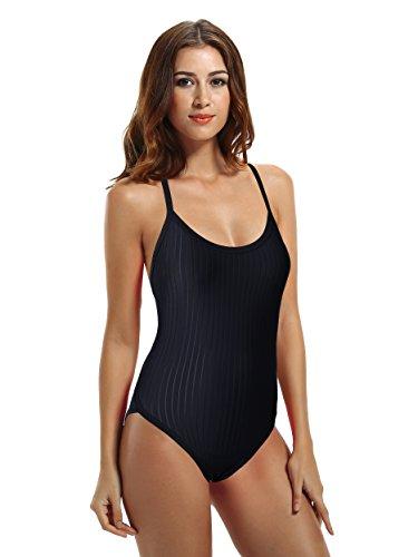 Zeraca Women's Vintage Raceback Sporty One Piece Bathing Suit Swimsuit L14 Black