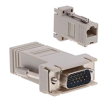 VGA Extender Male To Lan Cat5 Cat5e//6 RJ45 Ethernet Female Converter Adapter