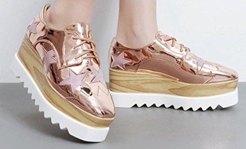 2017 Spesso Suole Loose Shoes pendio femminile singola scarpa scarpe casuali donne YCMDM'S , rose gold , 36