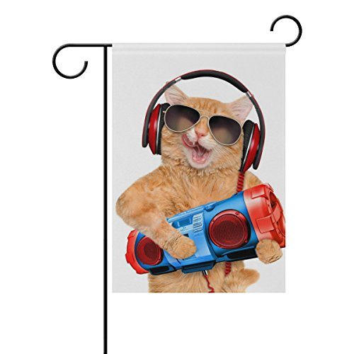 Blue Viper Orange Cat Listens To Music Garden Flag Banner 12 x 18 Inch Decorative Garden Flag for Outdoor Lawn and Garden Home Décor Double-Sided (Listen Banner)