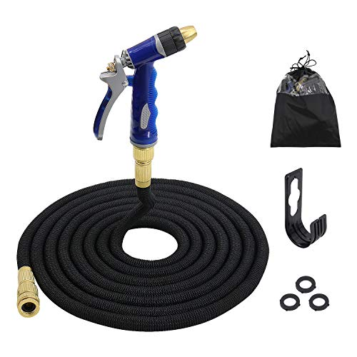 JM Outdoor Expandable Garden Hose Nozzle Set with Adjustable Watering Patterns High Pressure Spray for Car Washing Lawn Plants BLK 50FT