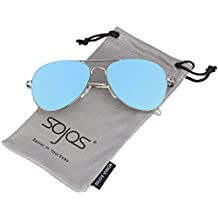 SojoS Flat Mirror Lens Metal Frame Aviator Sunglasses with Spring Hinges SJ1030