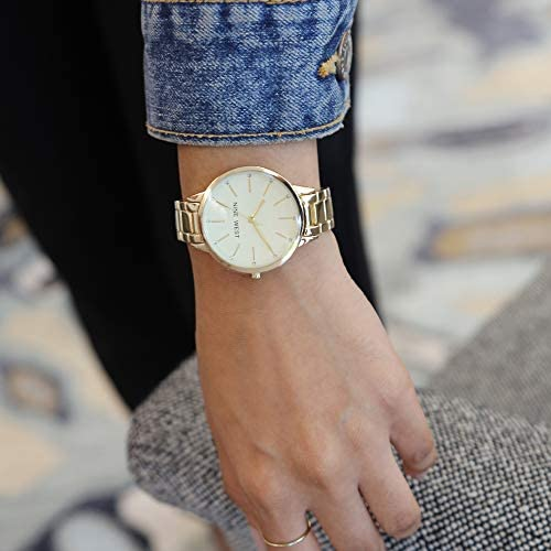 Nine West Women's Crystal Accented Gold-Tone Bracelet Watch WeeklyReviewer