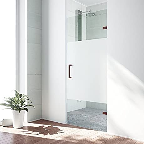 VIGO SoHo 28 To 28 5 In Adjustable Frameless Shower Door With 3125 In Privacy Panel Glass And Oil Rubbed Bronze Hardware