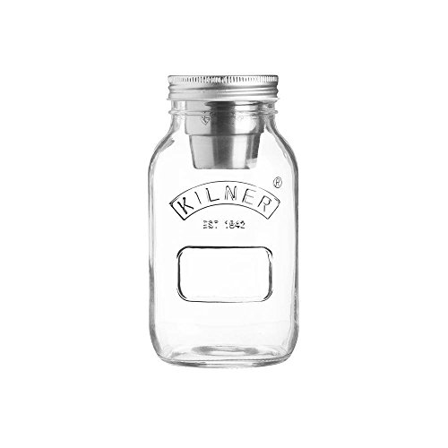 Kilner Food On the Go Jar, Innovative Glass To-go Container with Stainless Steel Condiments Cup and Secure Lid, 24-Fluid Ounces