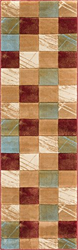 Well Woven BK-32-2L Brooklyn Taylor Modern Geometric Boxes Red Runner Rug 2'7