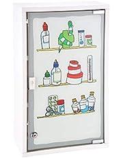 HI Szafa medyczna metalowa z drzwiami szklanymi i zamkiem w kolorze białym – szafka na leki do przechowywania leków, zamykana szafka, wisząca szafka ze szklanymi drzwiami