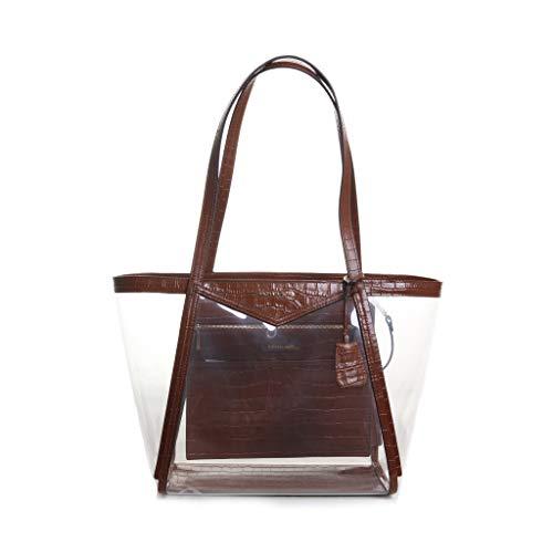 Michael Kors Whitney Large Top Zip Tote Handbag in Chestnut Clear