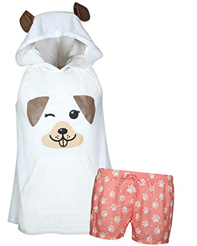 Tshirt Girl Dog Little (dELiA*s Girl\'s Summer Pajama Short Set with Animal Character Hood (White Dog, 7-8)')