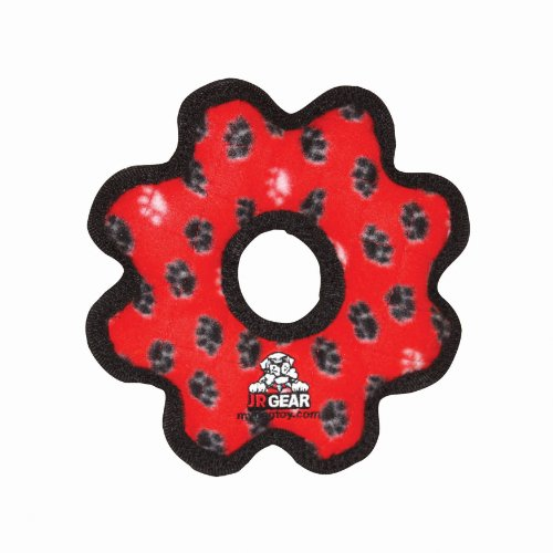 Tuffy's Junior Gear Ring Dog Toy, Red Paws, My Pet Supplies