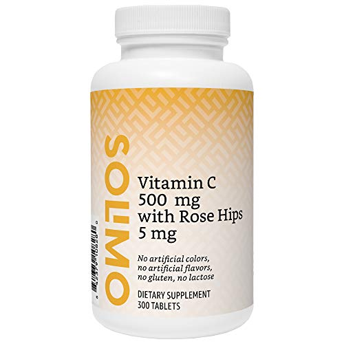 Amazon Brand - Solimo Vitamin C 500 mg with Rose Hips 5 mg, 300 Tablets, Value Size - Ten Month Supply (Packaging may - Vitamin C 500 Mg