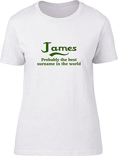 James probablemente la mejor apellido en el mundo Ladies T Shirt blanco