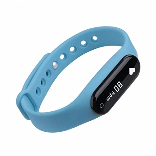 Bluetooth Fitness Tracker with Heart Rate Monitor,Smart Bracelet for Android IOS Smart Phones (Blue) ()