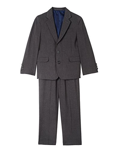Nautica Boys' Little Two Piece Suit Set with Hemmed Pants, Charcoal Heather, 6