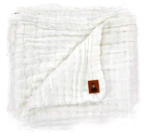 Dear Baby Gear Muslin Swaddle Baby Blanket Pure White, Includes 180 Day Warranty, 38 inches X 38 inches ()
