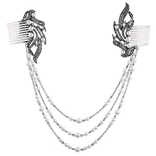 Miss Kiss Geometric Rhinestone Simulated Pearl Long Chain Hair Combs Wedding Women Hair (Vintage Pendant Kiss Glass)
